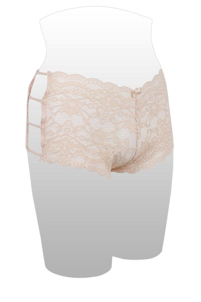 Ladies plus size caged lace hipster - StyleLure