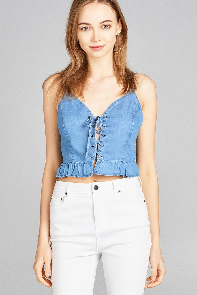 Ladies fashion bustier neckline w/eyelet detail smocked back ruffle hem chambray crop top - StyleLure