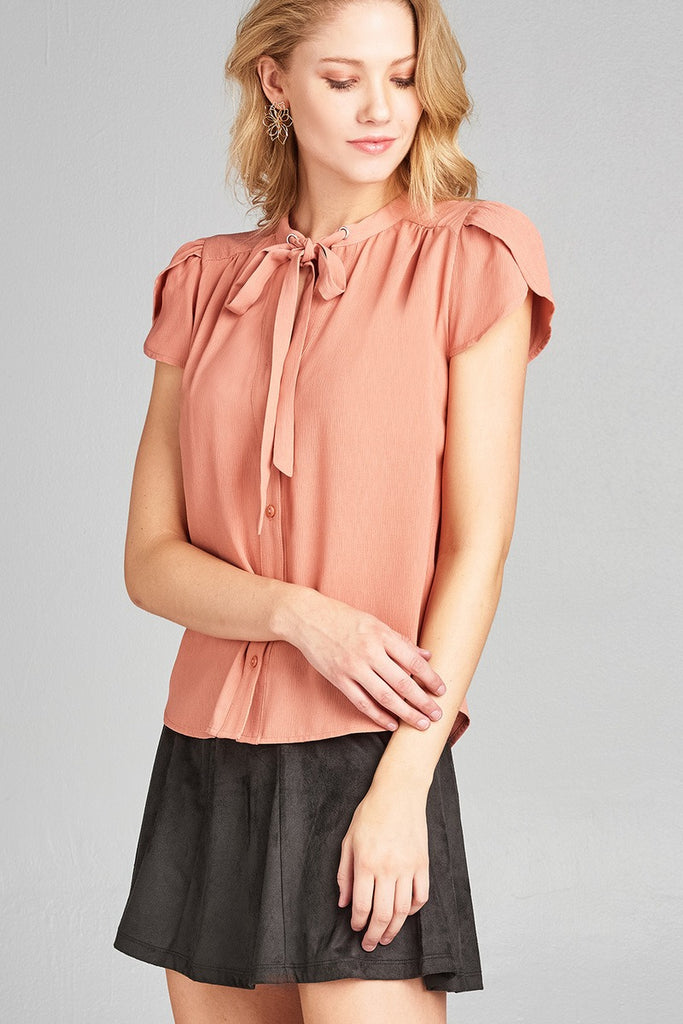 Ladies fashion tulip sleeve v-neck self tie w/eyelet detail front button woven top - StyleLure