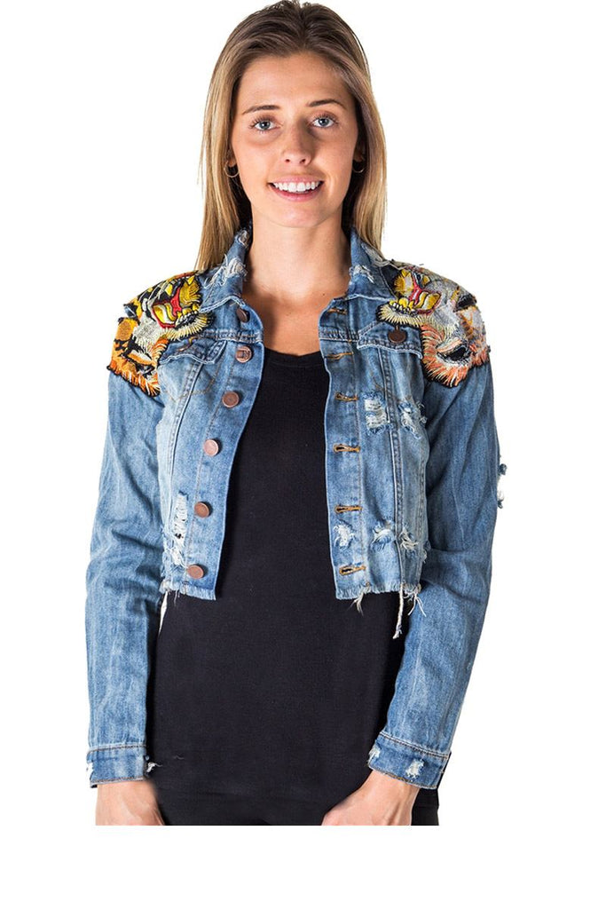 Ladies fashion cropped, distress, embroidered tiger denim jacket - StyleLure