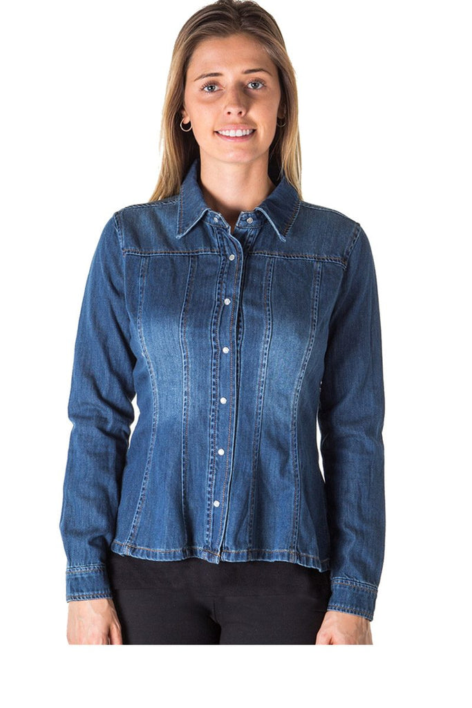 Ladies fashion denim shirt jacket - StyleLure