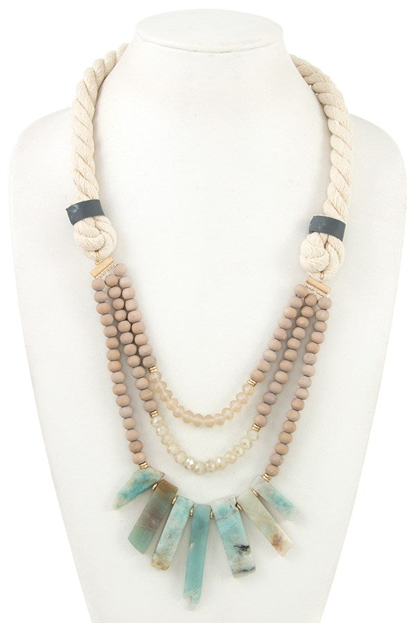 Ladies multi bead fringe semi precious stone rope necklace - StyleLure