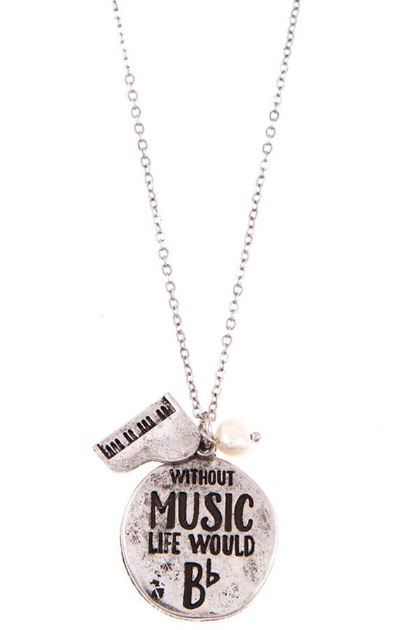 Ladies without music life would b round pendant necklace set - StyleLure