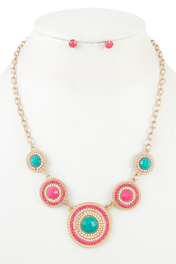 Ladies round beaded link bib necklace set - StyleLure