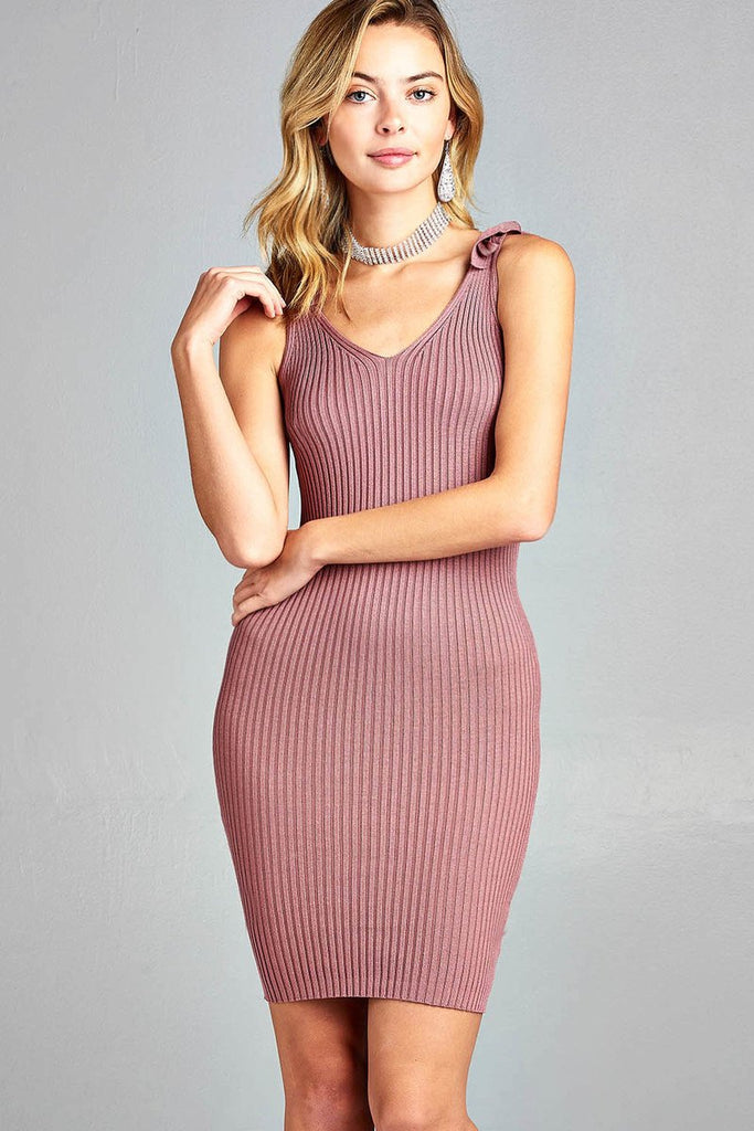 Ladies fashion sleeveless double v-neck w/strap ribbon tie sweater dress - StyleLure