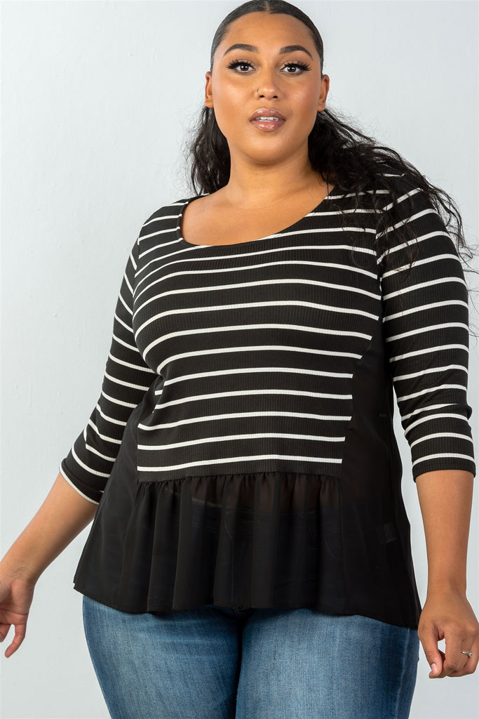 Ladies fashion plus size 3/4 sleeve stripe front top with mesh detail - StyleLure