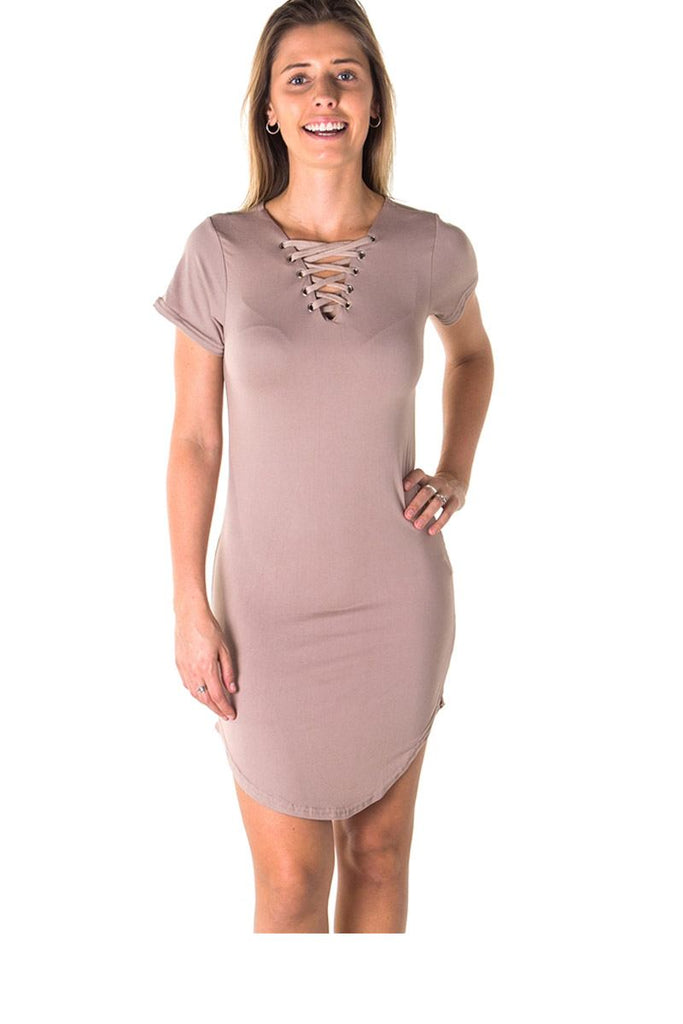 Ladies fashion round hem t shirt dress and lace up v neck - StyleLure