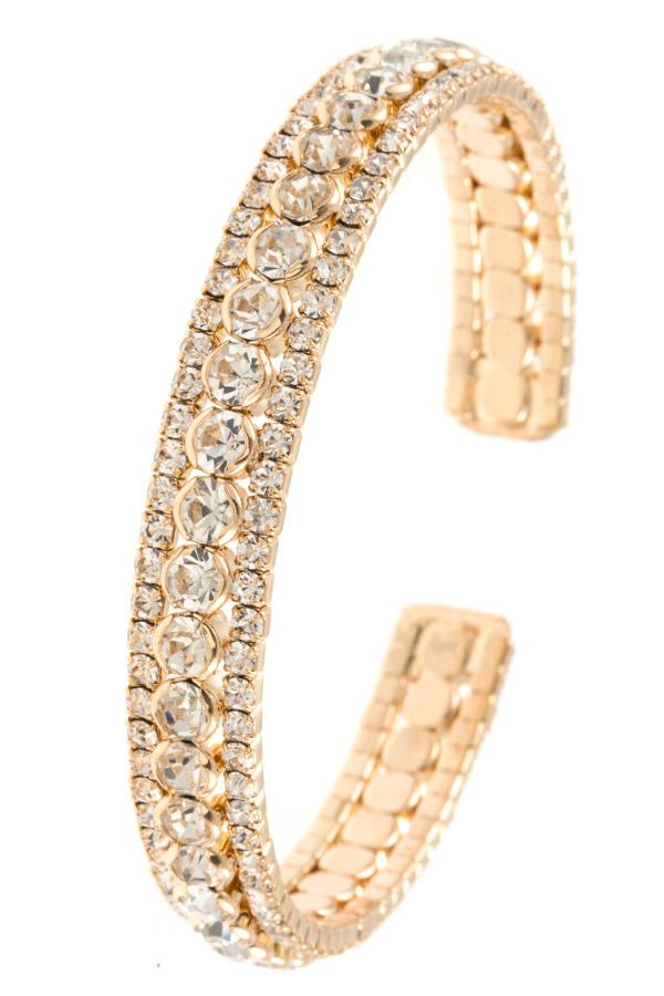 Ladies crystal gem aligned flex bracelet - StyleLure