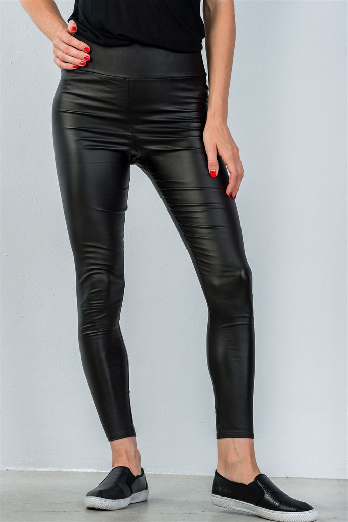 Ladies fashion mid-rise black tight ankle leggings - StyleLure