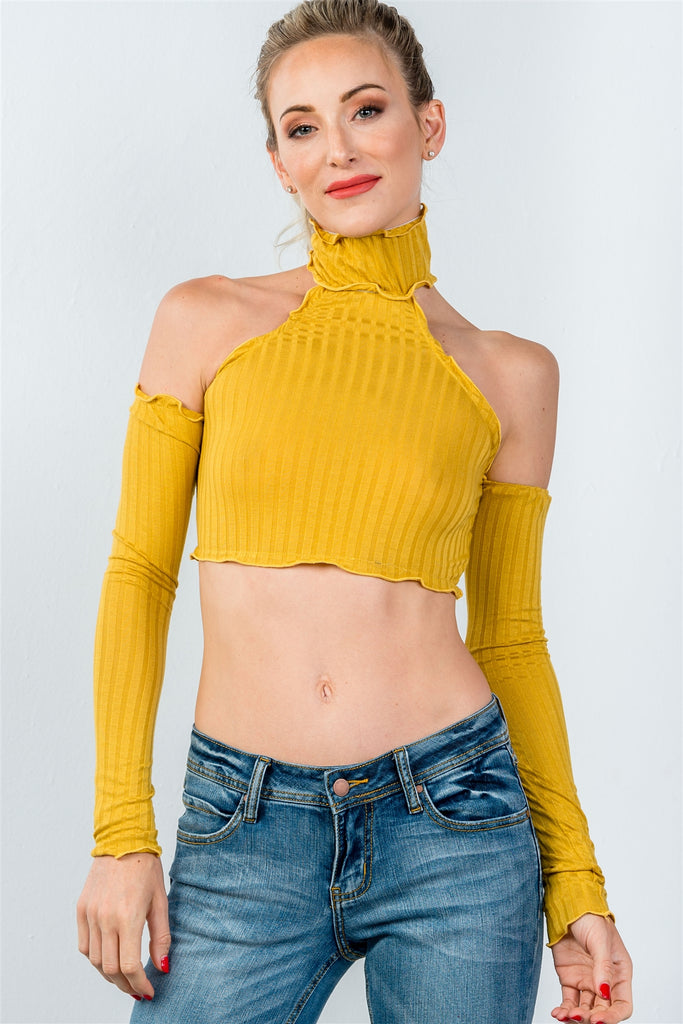 Ladies fashion high neckline ruffle frill hem long sleeve crop top - StyleLure