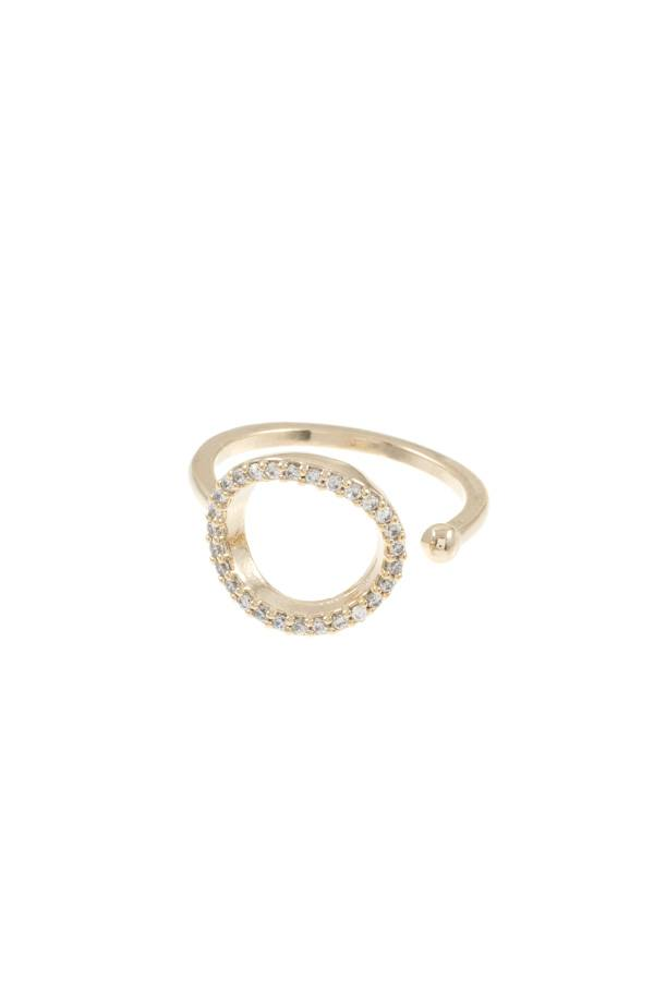 Ladies cz stone cuff brass ring - StyleLure