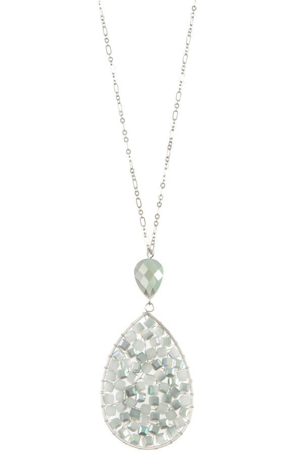 Ladies faceted wired teardrop long necklace - StyleLure