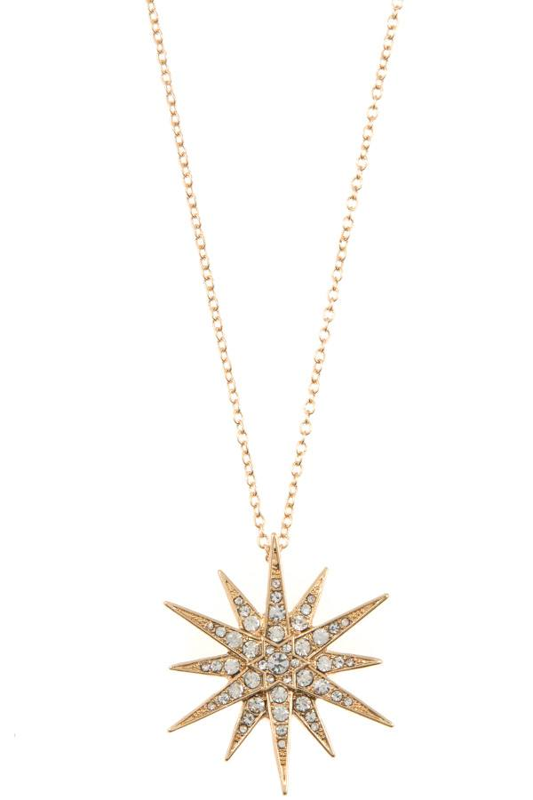 Ladies rhinestone pave star peandant long necklace - StyleLure