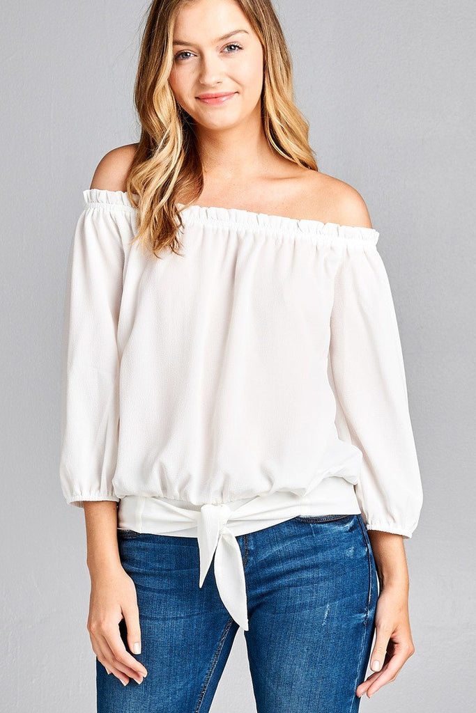 Ladies fashion 3/4 sleeve off the shoulder waist band w/front self tie back smocked detail crepe woven top - StyleLure