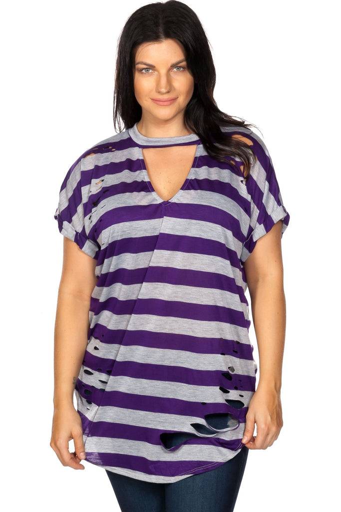 Ladies fashion plus size round neckline striped and destroyed cutout tee - StyleLure