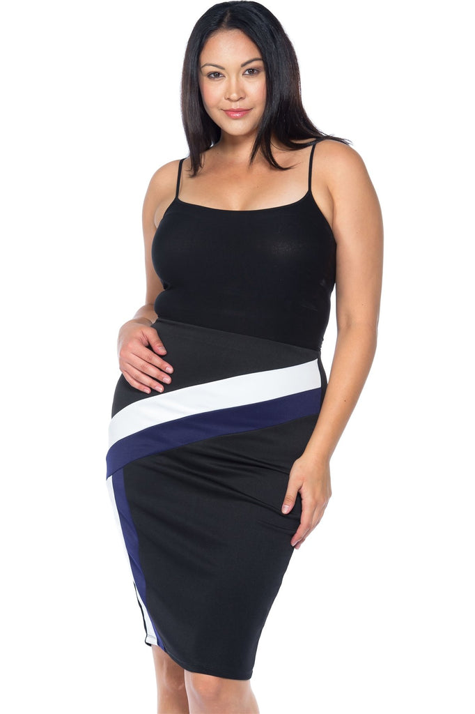 Ladies fashion plus size black blue white color block pencil midi skirt - StyleLure