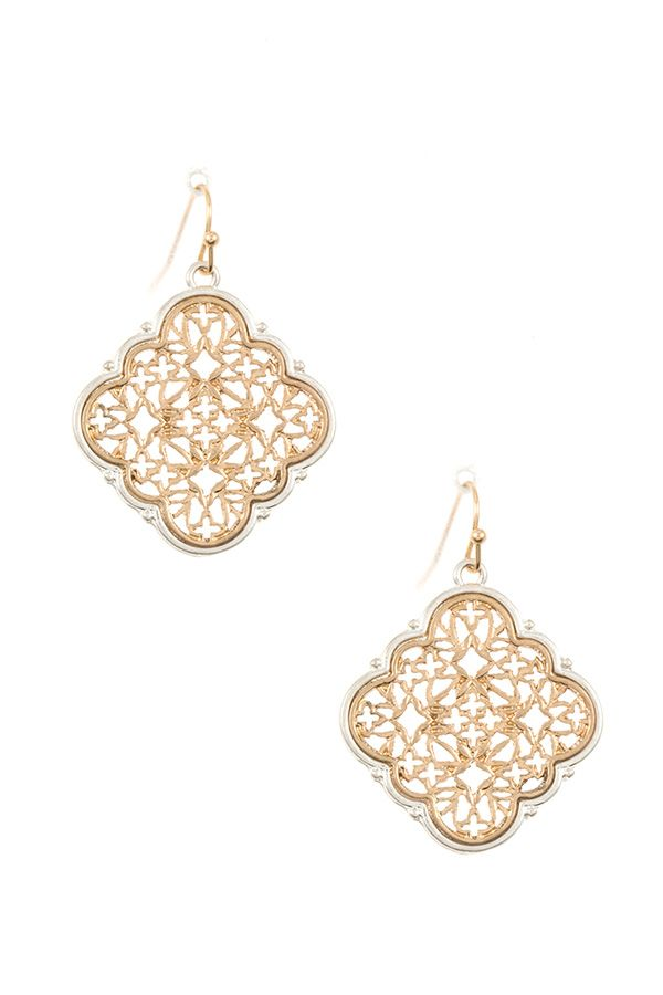 Ladies two tone cut out dangle earring - StyleLure