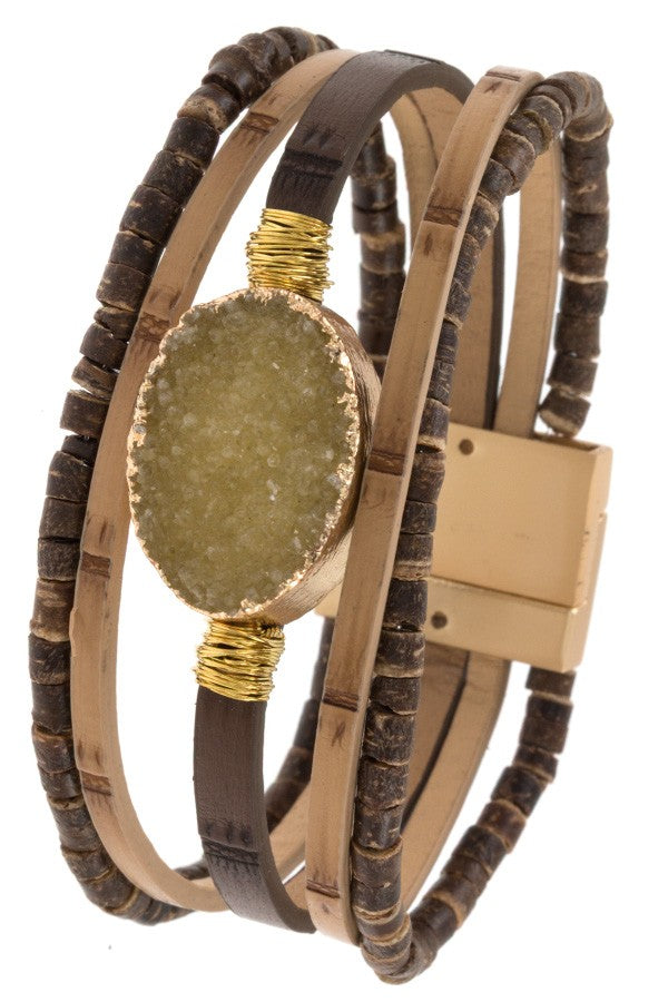 Ladies wood like multi row detaield bracelet - StyleLure