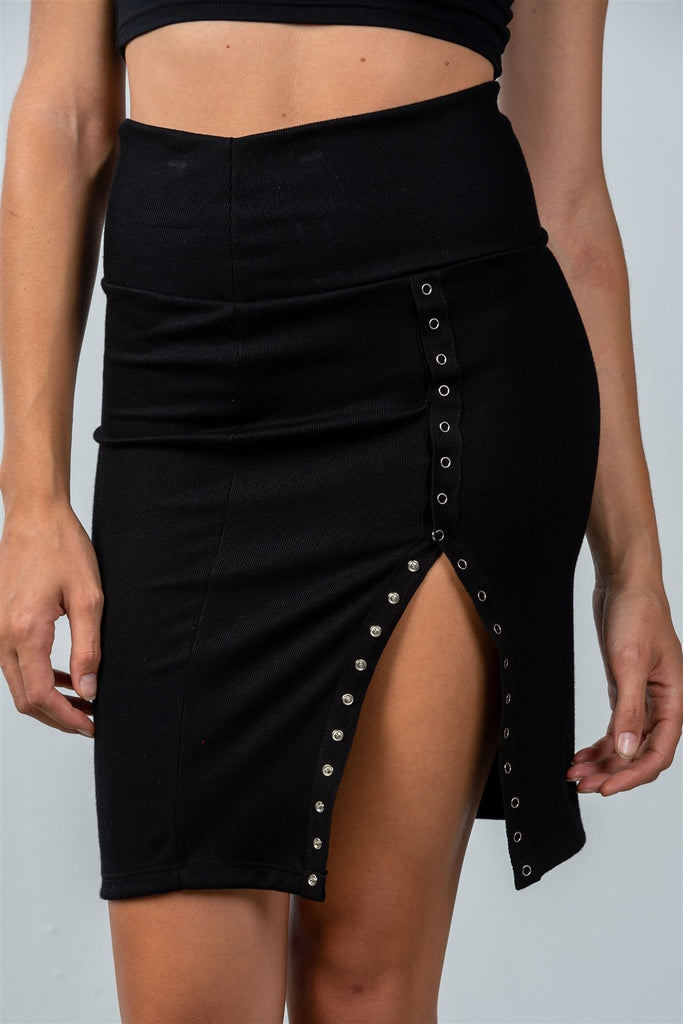 Ladies fashion black pencil mini skirt with snap button side - StyleLure