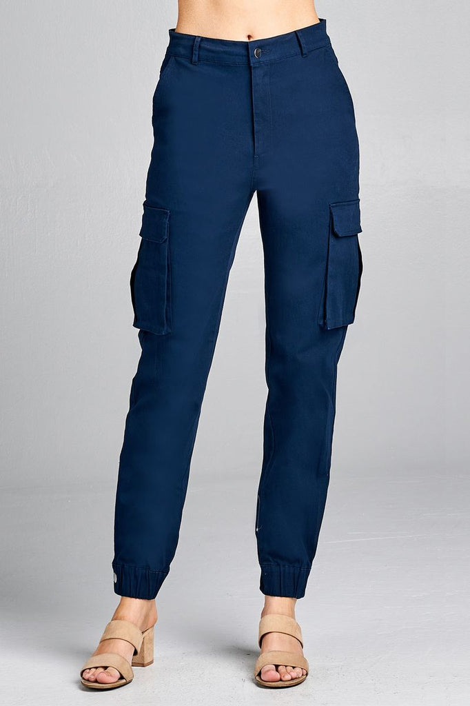 Ladies fashion waist button elastic hem w/snap button cargo pants - StyleLure