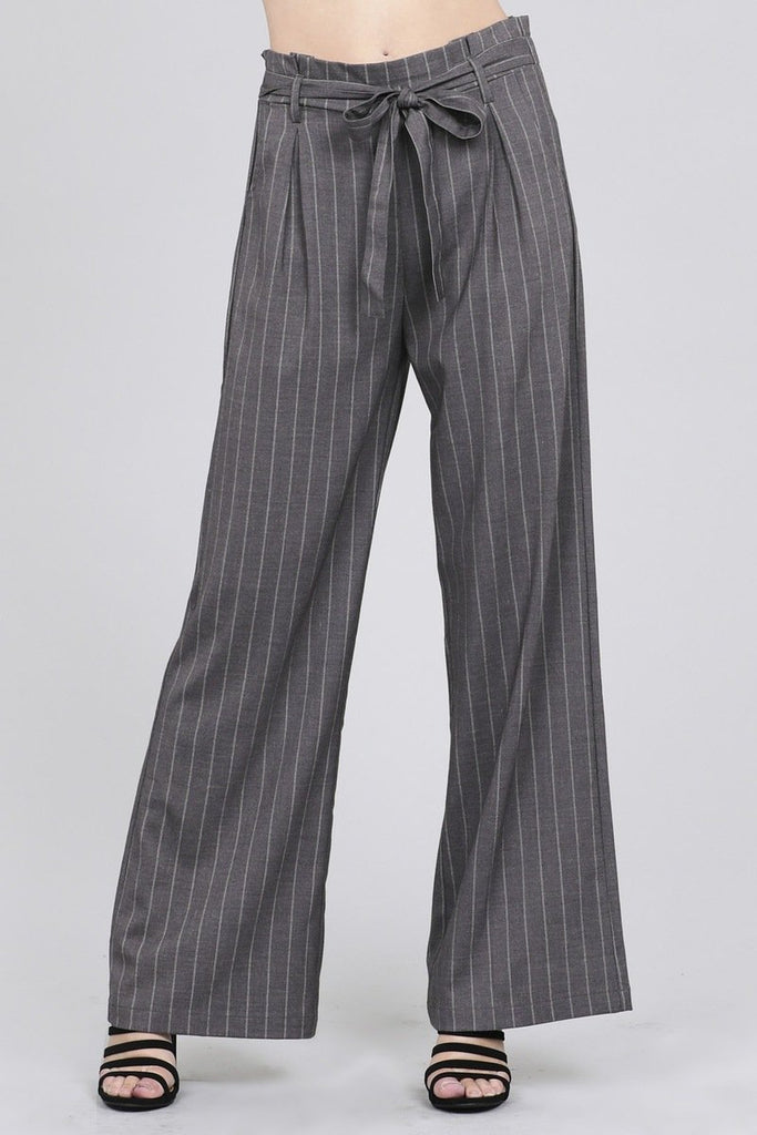 Ladies fashion high waist w/self belt long leg wide pinstripe woven pants - StyleLure