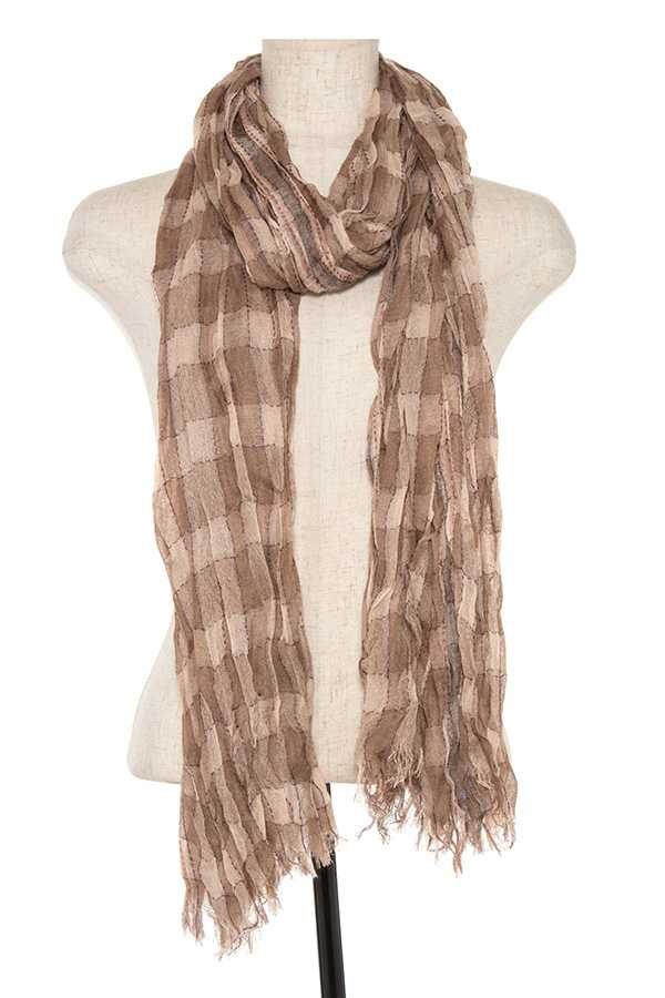 Squared pattern fringe end oblong scarf - StyleLure