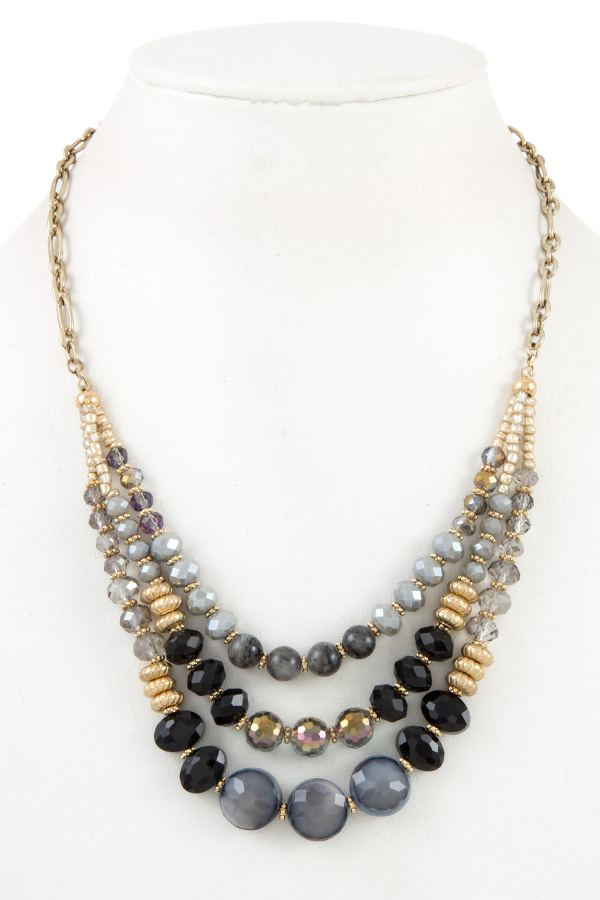 Multi low glass bead necklace set - StyleLure
