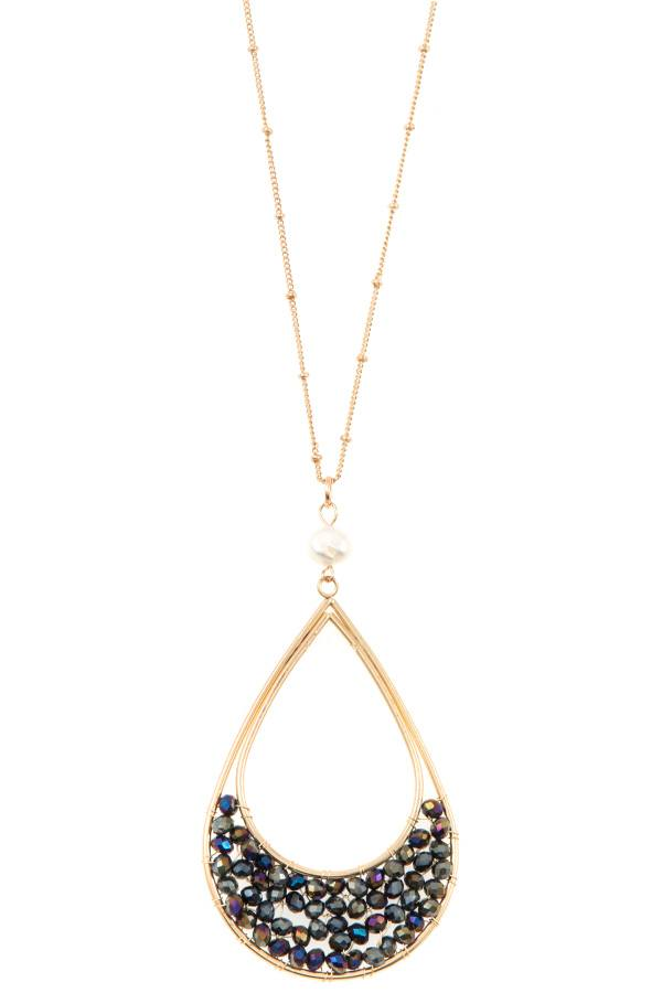 Woven bead teardrop pendant long necklace - StyleLure
