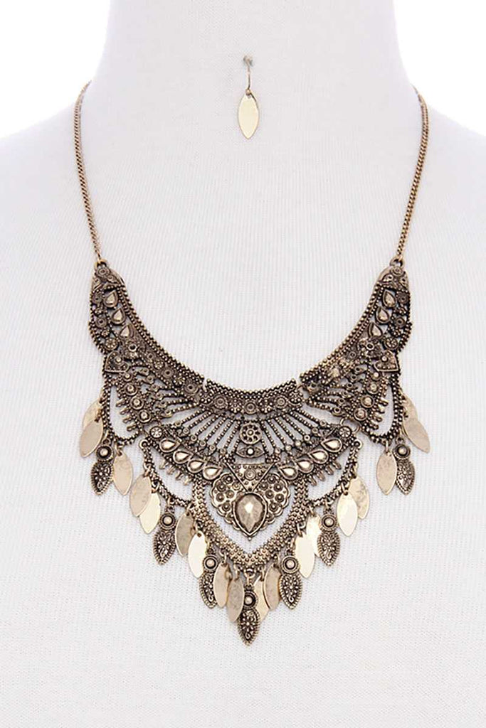 Antique metal pointed oval shape dangle bib statement necklace - StyleLure