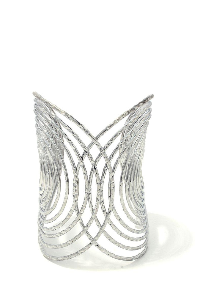 Textured wired design metal cuff bracelet - StyleLure