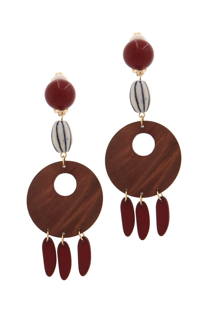 Cut out circle wood bead drop earring - StyleLure
