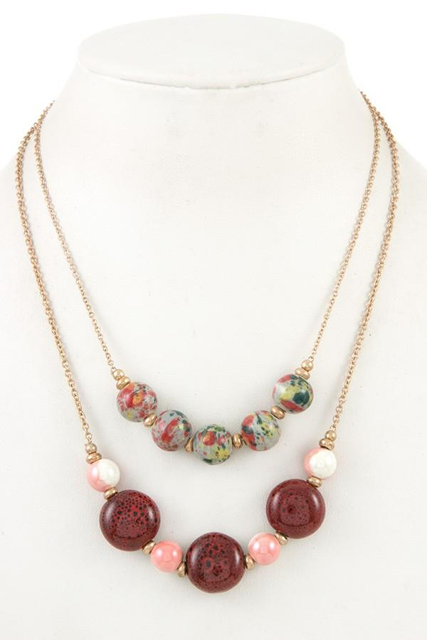 Double row ball bead necklace - StyleLure