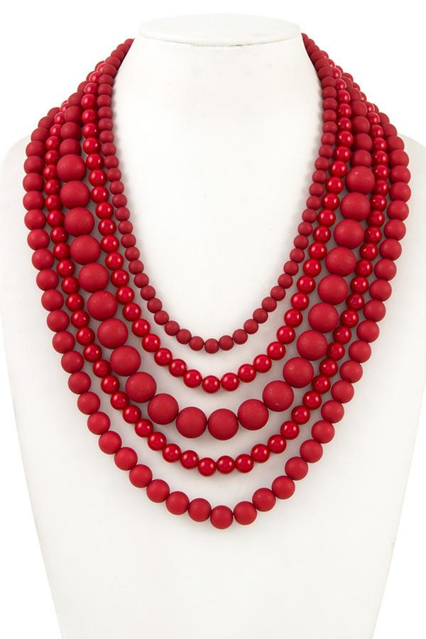 Multi strand beaded necklace - StyleLure