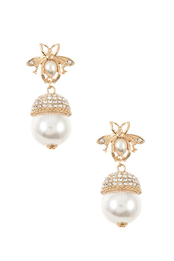 Rhinestone bee pearl accent earring - StyleLure