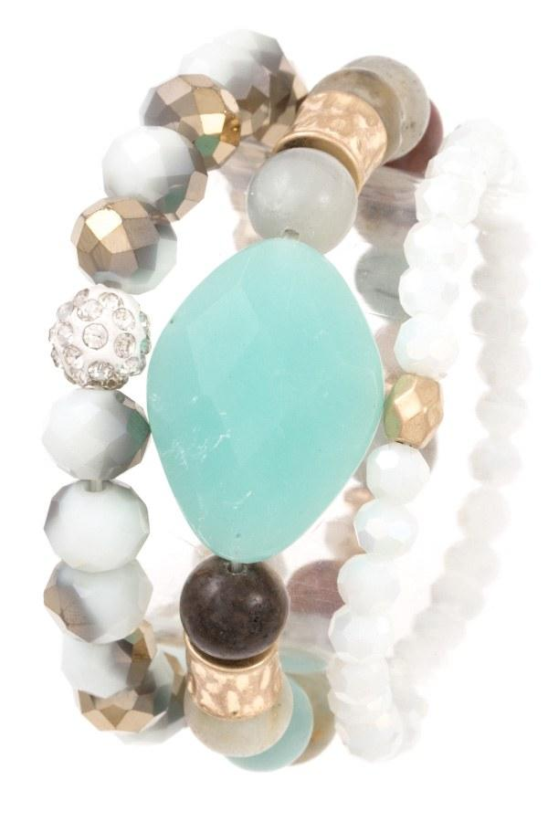 Faceted bead semi precious stone bracelet set - StyleLure
