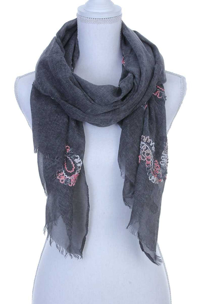 Sheer embroidered oblong scarf - StyleLure