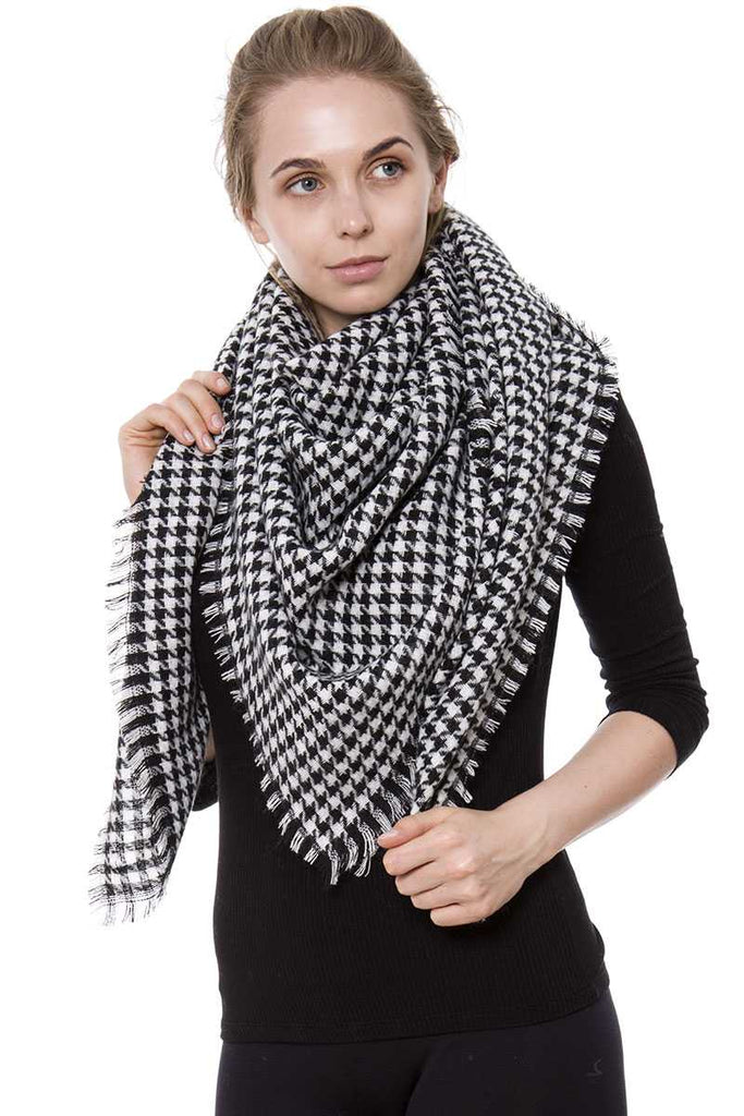 Houndstooth blanket scarf - StyleLure