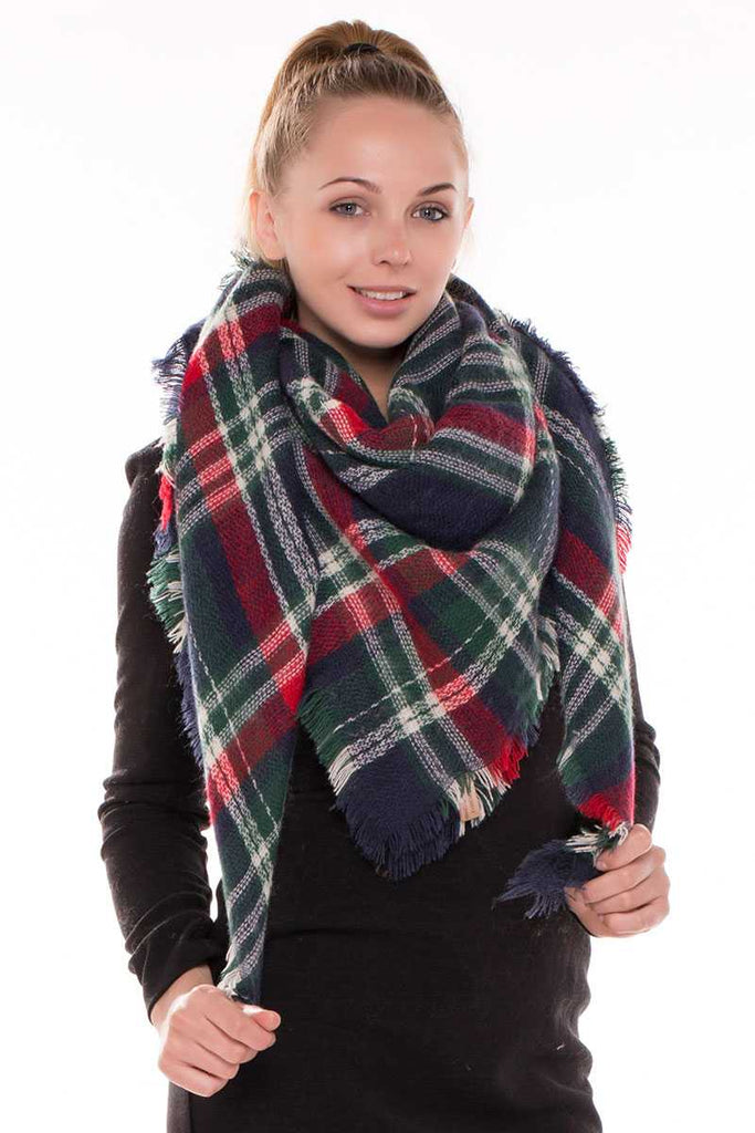 Plaid blanket scarf - StyleLure