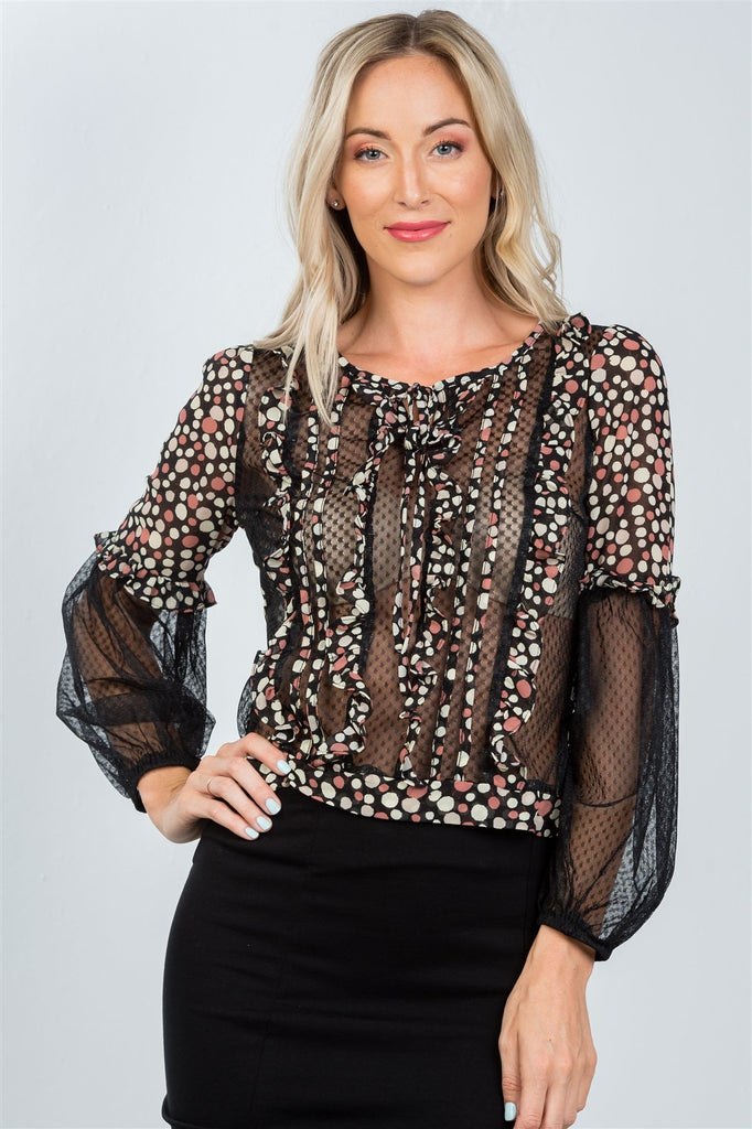 Ladies fashion polka dots ruffle sheer mesh top - StyleLure