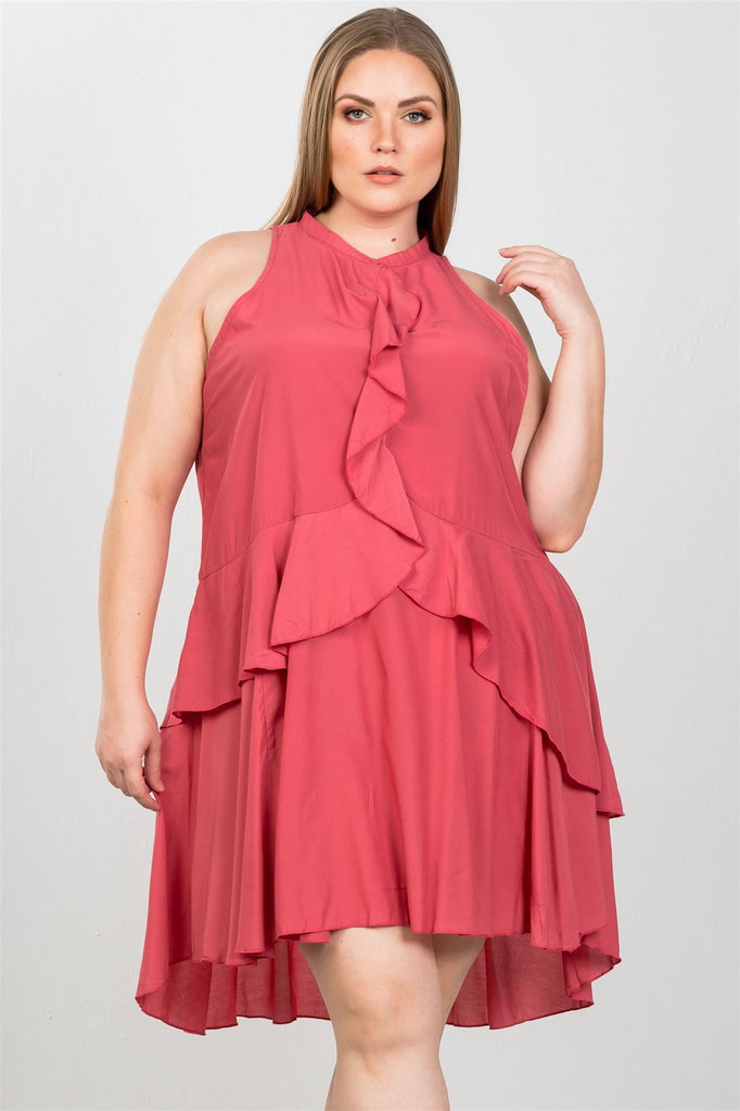 Ladies fashion plus size draped-ruffle front sleeveless swing mini dress - StyleLure