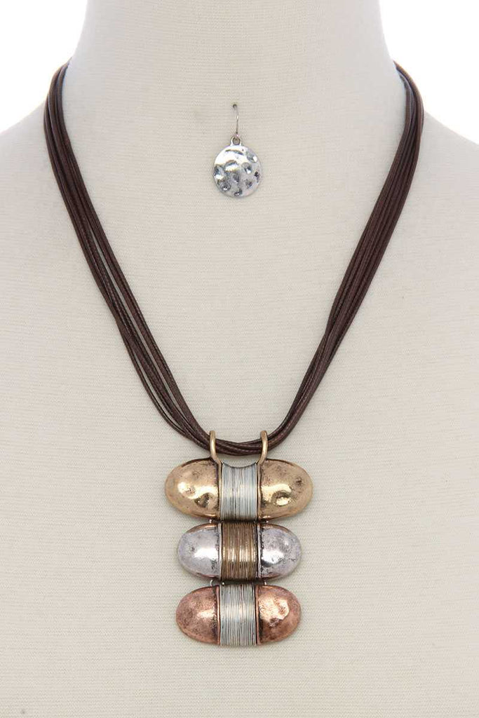 Hammered slanted oval shape wired wrapped necklace - StyleLure