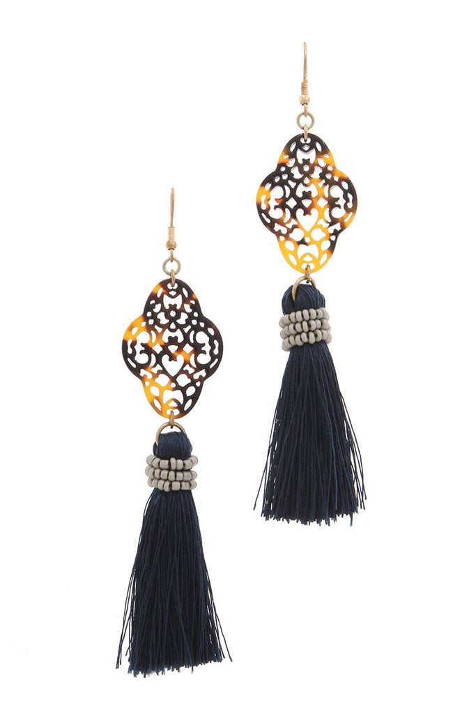 Acetate moroccan shape tassel drop earring - StyleLure