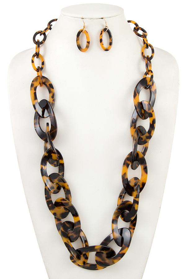 Long acetate chain like link necklace set - StyleLure