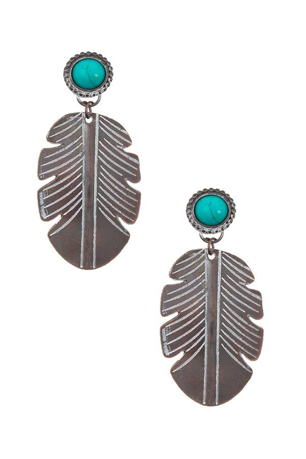 Etched lead drop dangle earring - StyleLure