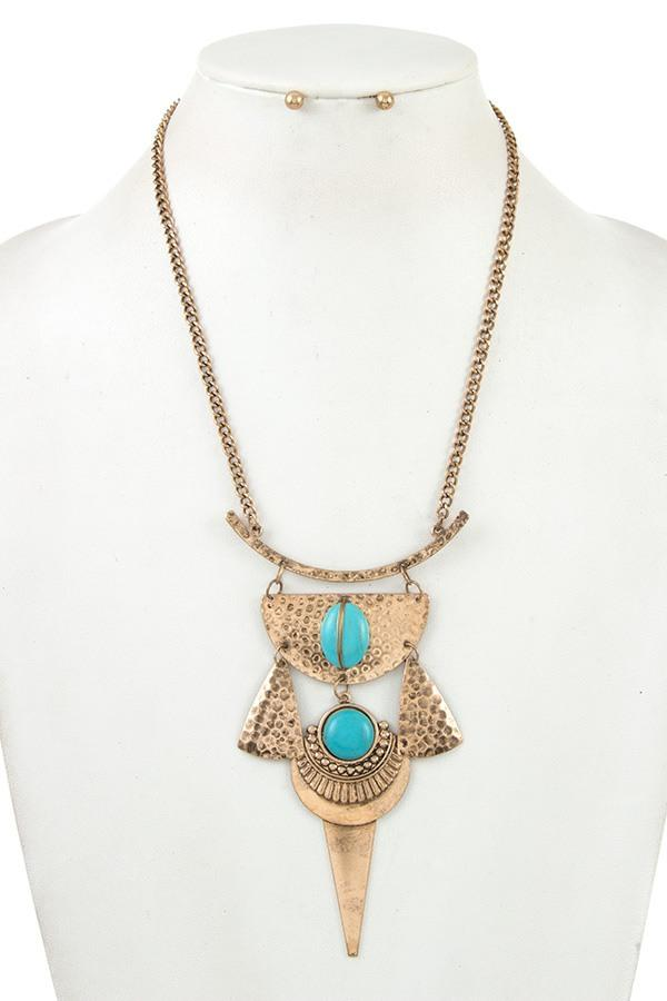 Tribal hammered metal with gem stone linked necklace set - StyleLure
