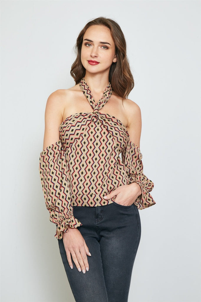 Ladies fashion geo print off the shoulder top - StyleLure
