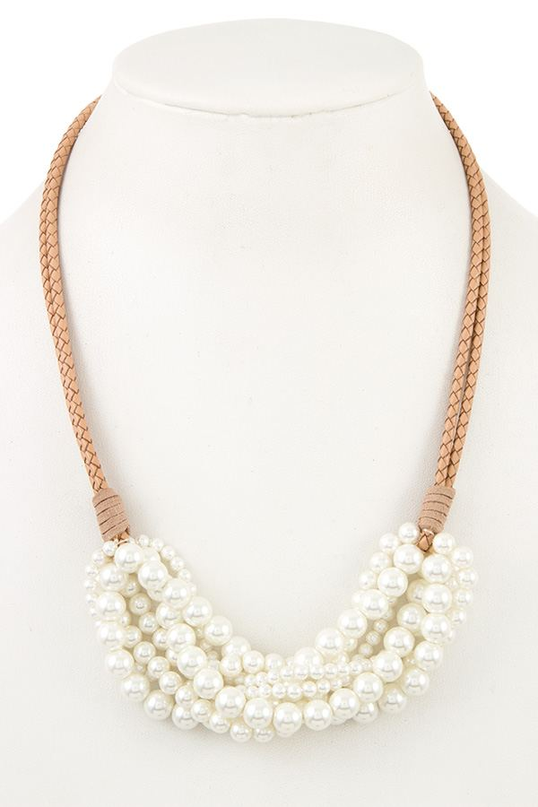 Cluster pearl bib necklace - StyleLure