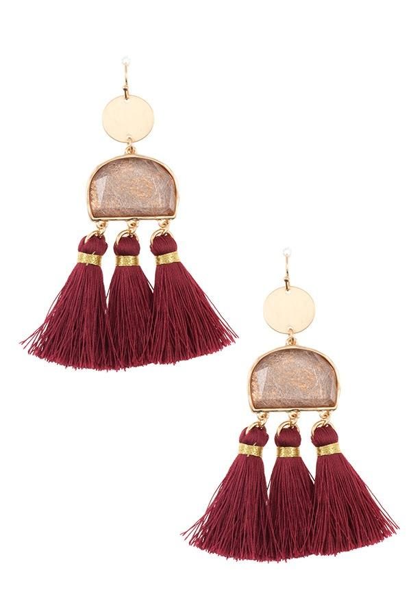 Scratched stone dangle tassel earring - StyleLure