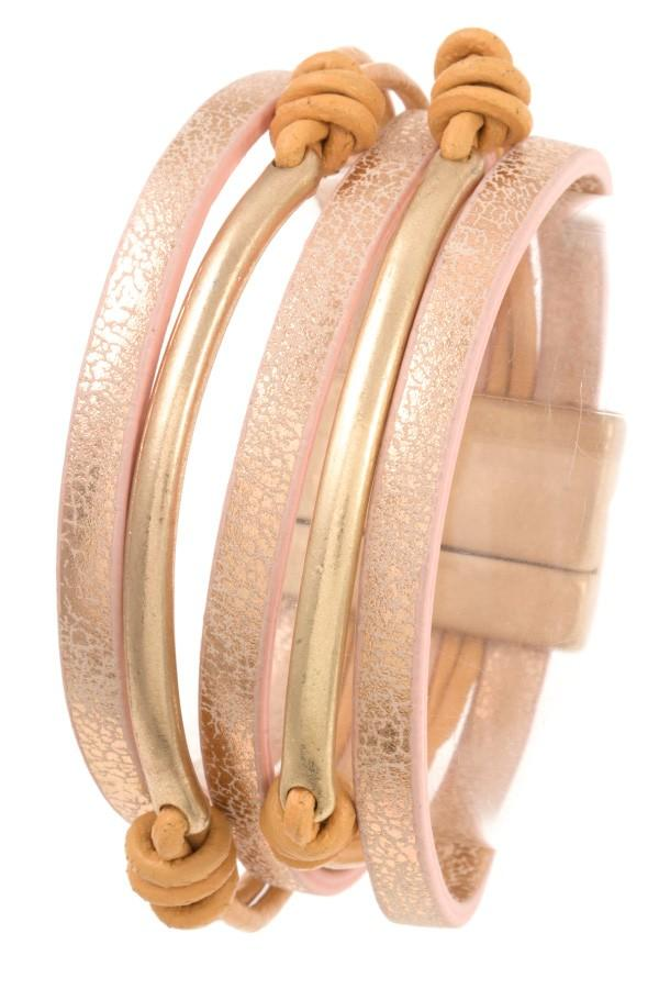 Multi row metal accent bracelet - StyleLure