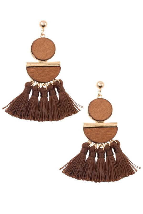 Mix shape link tassel drop dangle earring - StyleLure